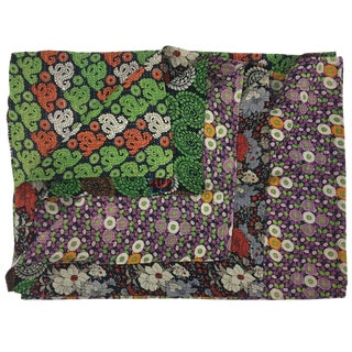 Small Print Vintage Kantha Quilt | Vintage Sari Throw in Green & Lavender For Sale