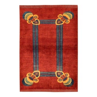 "Apadana - Contemporary Red Indian Rug, 4'3"" x 6'3"" For Sale"