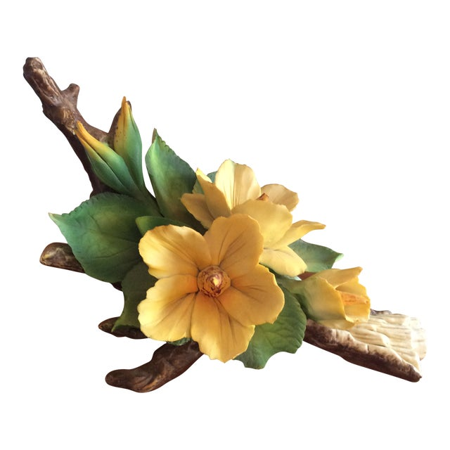 Vintage Capodimonte Flower in Yellow For Sale