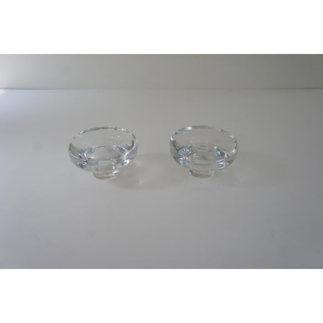 Transparent Vintage Mid Century Modern Dansk Lead Crystal Votive and Taper Candle Holders - a Pair For Sale - Image 8 of 9