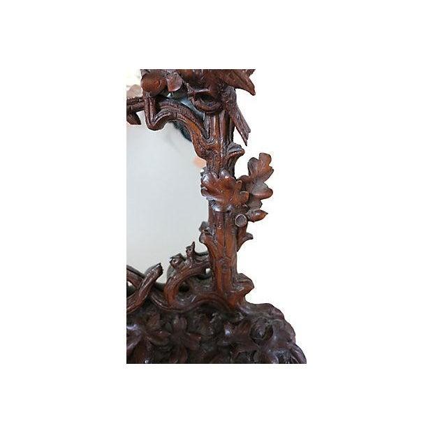 Antique Hand-Carved Black Forest Bureau Mirror - Image 5 of 7