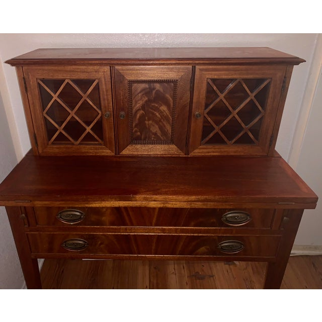 Mid 20th Century 20th Century Traditional Kittinger Gainsborough Flame Mahogany Secretary Desk For Sale - Image 5 of 9