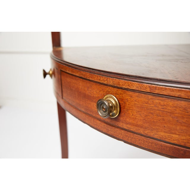 Wood Mahogany Corner Wash Stand With Red Leather Top For Sale - Image 7 of 11