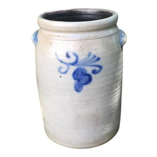 Four Gallon Cobalt Decorated Stoneware Jar For Sale