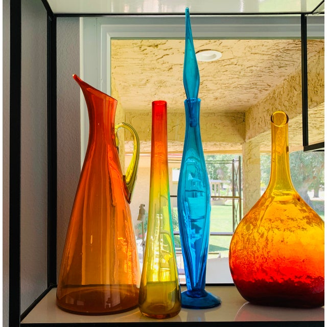 1959 Vintage Wayne Husted Blenko Glass Tangerine Vase For Sale In Palm Springs - Image 6 of 10