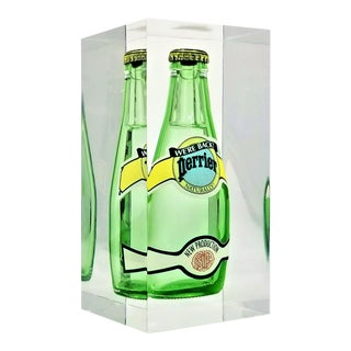 1970s Pop Art Lucite Sculpture With Submerged Perrier Bottle - French France Mid Century Modern Art Abstract Realism For Sale