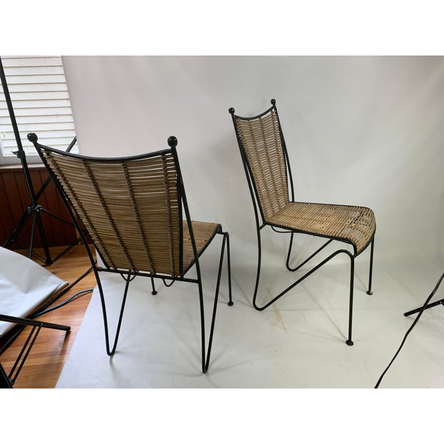 Ficks & Reed Mid-Century Modern Bamboo & Rod Iron Dining Chairs - Set of 2 For Sale - Image 10 of 11