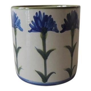 Vintage Ceramic Cornflowers Cachepot For Sale