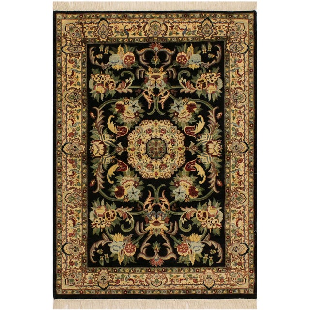 Blue Anarkali Pak-Persian Eleanore Black/Ivory Wool Rug - 4'1 X 6'3 For Sale - Image 8 of 8