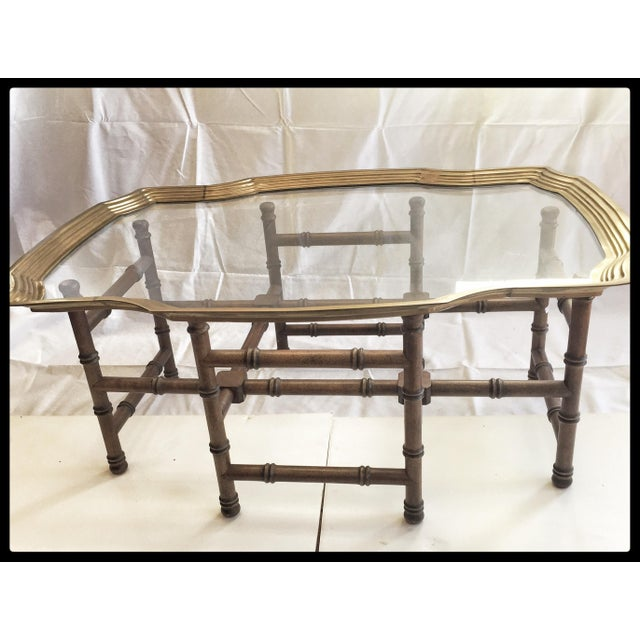Vintage Brass Tray Coffee Table Faux Bamboo Base - Image 2 of 6