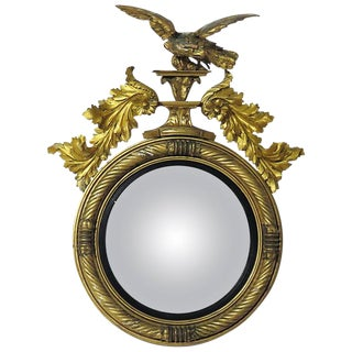 19th Century Large English Regency Period Convex Mirror For Sale