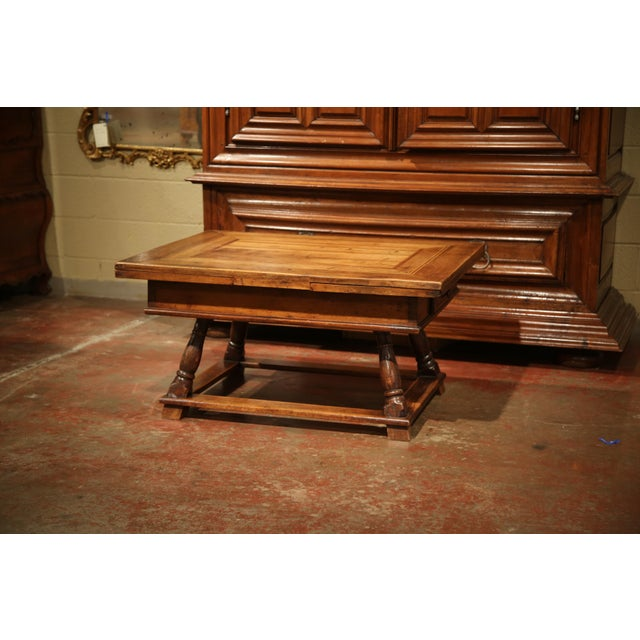 18th Century French Walnut Coffee Table with Drawers and Pull Out Leaves For Sale In Dallas - Image 6 of 9