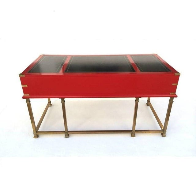 Red Vintage Campaign Style Writing Table/Desk Lacquered in Red For Sale - Image 8 of 11