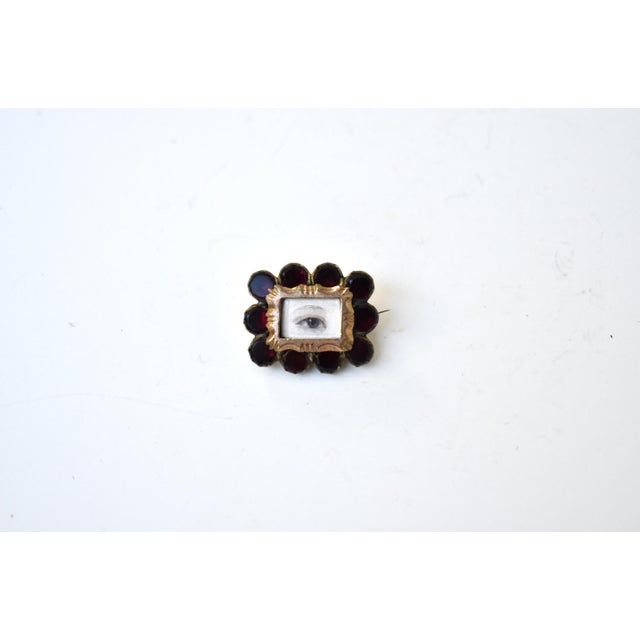 Red Antique Georgian Garnet Brooch With Contemporary Lover's Eye Painting by S. Carson For Sale - Image 8 of 9