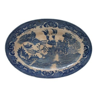 Vintage Oval Decorative Small Platter With Blue Willow Pattern For Sale