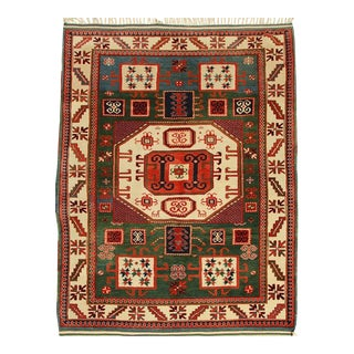 Transitional Red and Green Geometric Medallion Wool Rug - 4′10″ × 6′9″ For Sale