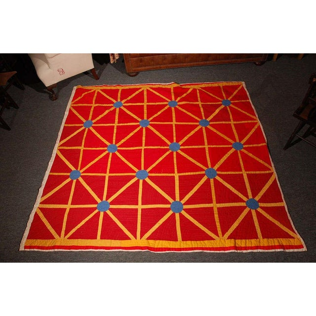 This wonderful and folky geometric Afro-American quilt was purchased from the family. It really is quite graphic and has...
