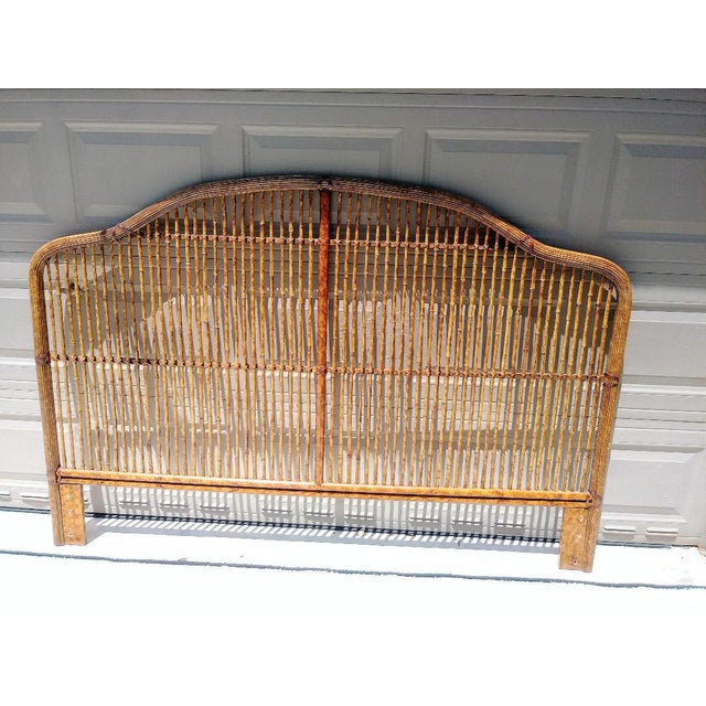 Stunning King Size Bamboo Palm Beach Regency Tortoiseshell Island Style Headboard For Sale In West Palm - Image 6 of 6