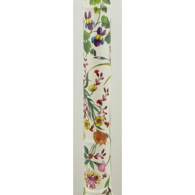 1970s Pair Italian Ceramic Floral Detailed Table Lamps For Sale - Image 5 of 8