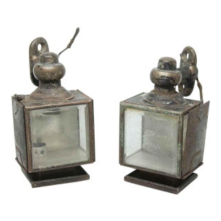 Antique Mini Tin Carriage Lights - a Pair For Sale