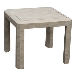 Maitland Smith Tesselated Stone and Brass Side Table