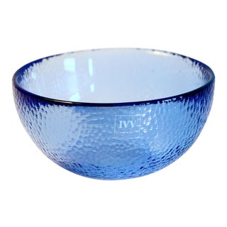 Small Blue Glass Catchall Bowl For Sale