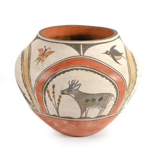 Southwest Zia Pueblo Polychrome Pottery With Deer, Goose, Birds and Butterfly Preview
