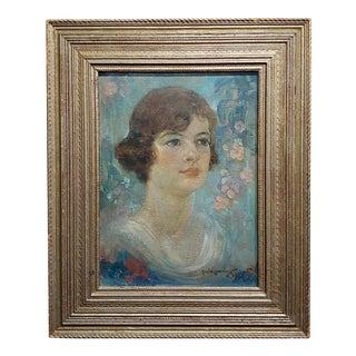 Maurice Greenberg -Young Woman Portrait-1921 Art Nouveau-Oil Painting For Sale
