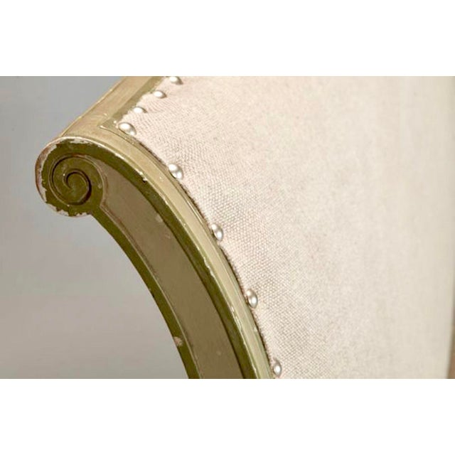 French Empire Style Painted Settee With Neutral Upholstery - Image 7 of 8