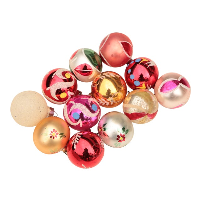 Miniature Blown Glass Christmas Ornaments - Set of 12 For Sale