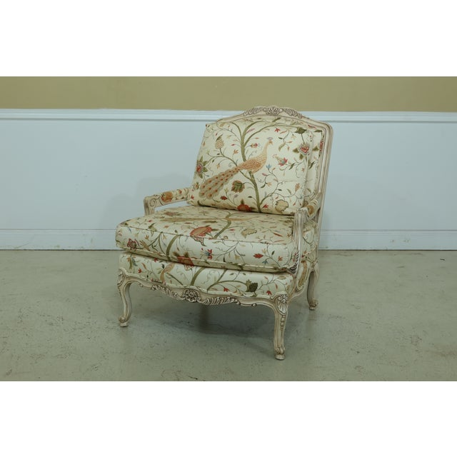Paint Thomasville Decorator Upholstered Peacock Print French Chair For Sale - Image 7 of 11