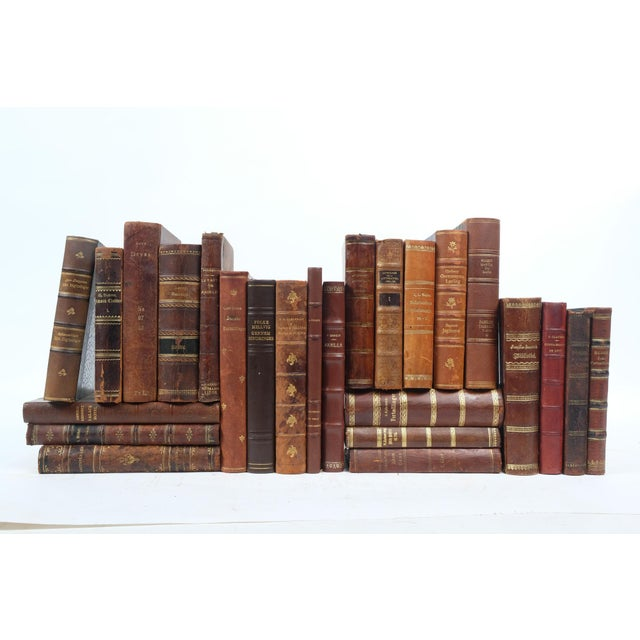 Scandinavian Leather Bound Books S/25 For Sale - Image 4 of 4