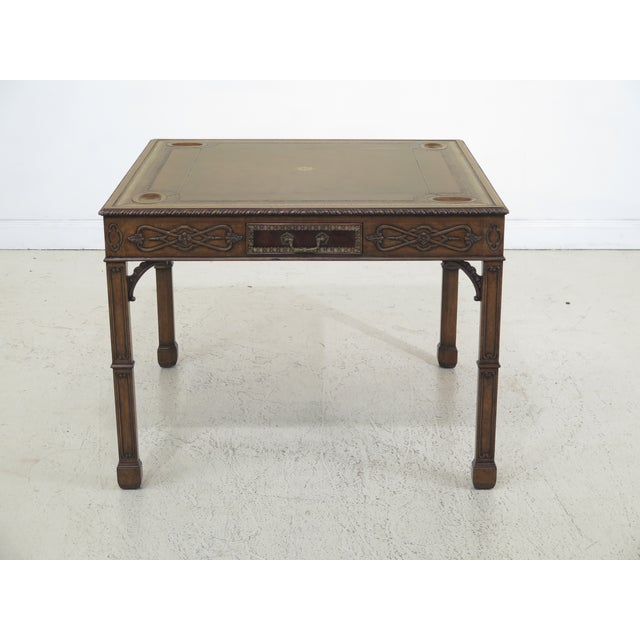 1990s Chippendale Maitland Smith Square Leather Top Games Table For Sale - Image 11 of 11
