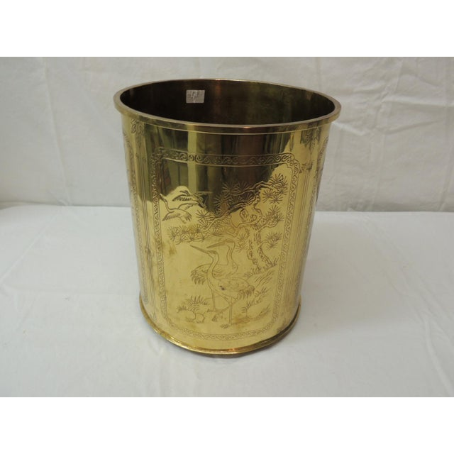 Asian Vintage Polished Brass Asian Wastebasket Depicting Birds Flowers and Bamboo For Sale - Image 3 of 5