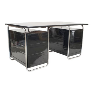 German Art Deco Black Enameled Wooden Desk For Sale