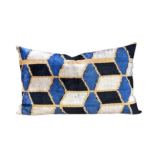 Kim Salmela Geometric Turkish Silk Velvet Ikat Lumbar Pillow For Sale