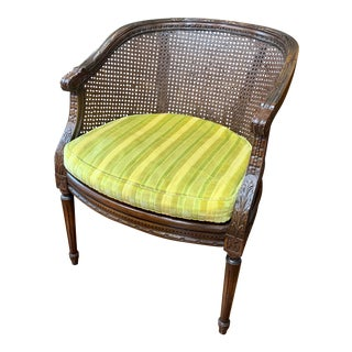 Carved Walnut & Cane French Louis XVI Style Chair For Sale
