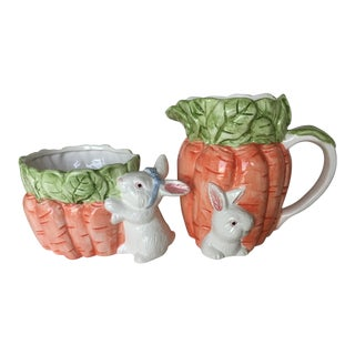 Late 20th Century Majolica Carrot and Bunny Pitcher and Planter Set For Sale