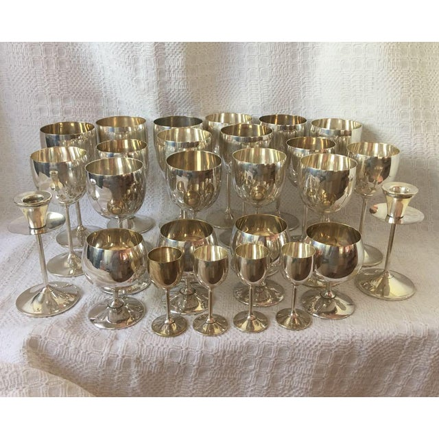 Vintage Spanish Silver Plated Stemware Candlesticks - 26 Pieces For Sale - Image 9 of 9
