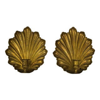 Mid Century Brass Candle Sconces - a Pair For Sale