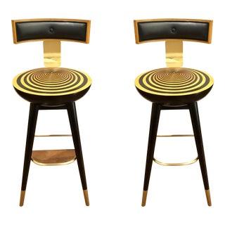 Jonathan Charles Modern Black and Tan Wood Swivel Bar Stools - a Pair For Sale