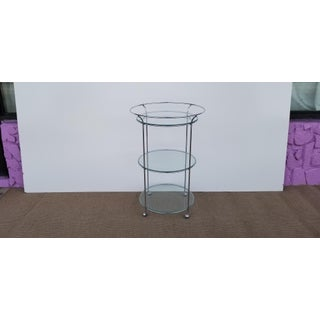 Vintage Three Tier Chrome and Glass Round Bar Cart Preview