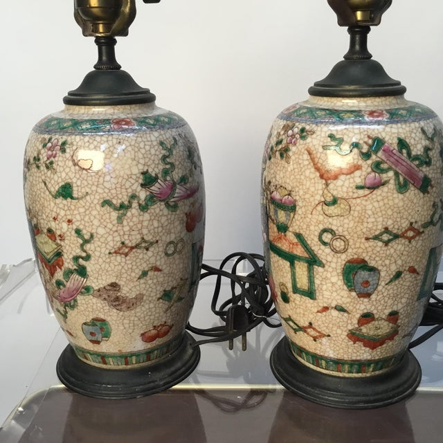 Late 19th Century 19th Century Antique Asian Hand Painted Table Lamps - a Pair For Sale - Image 5 of 13