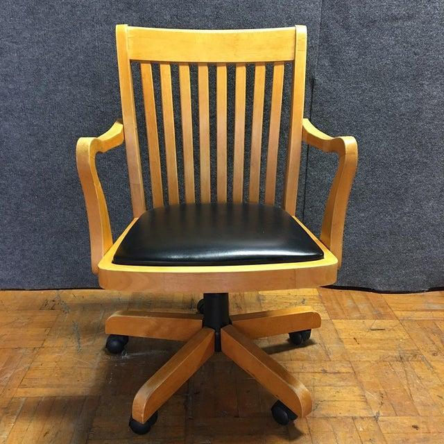 Adjustable Wood Banker's Desk Chair - Image 3 of 8