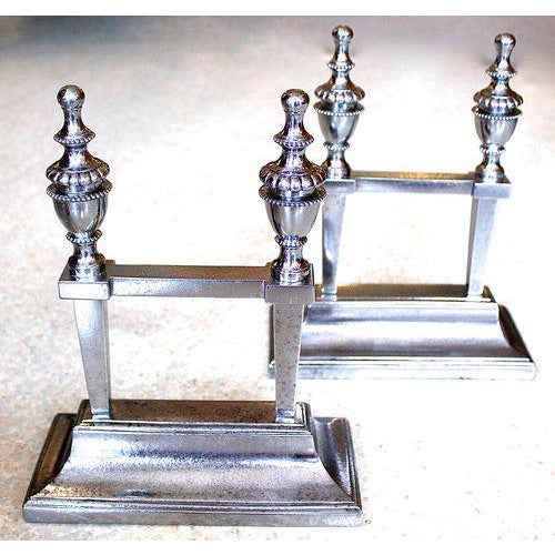 English Traditional George III Period Polished Steel Fire Dogs - A Pair For Sale - Image 3 of 9