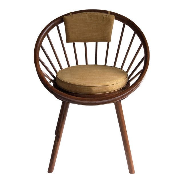 Yngve Ekstrom Design Teak Circle Chair With Cushions For Sale - Image 5 of 5