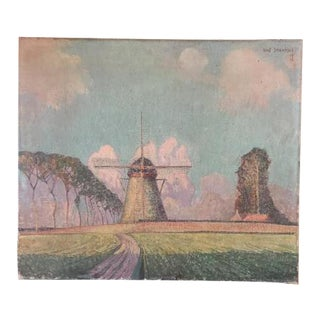 """Antique Flemish Landscape Painting of Windmill in the Country, Signed """"Staf Stientje,"""" 1923 For Sale"""