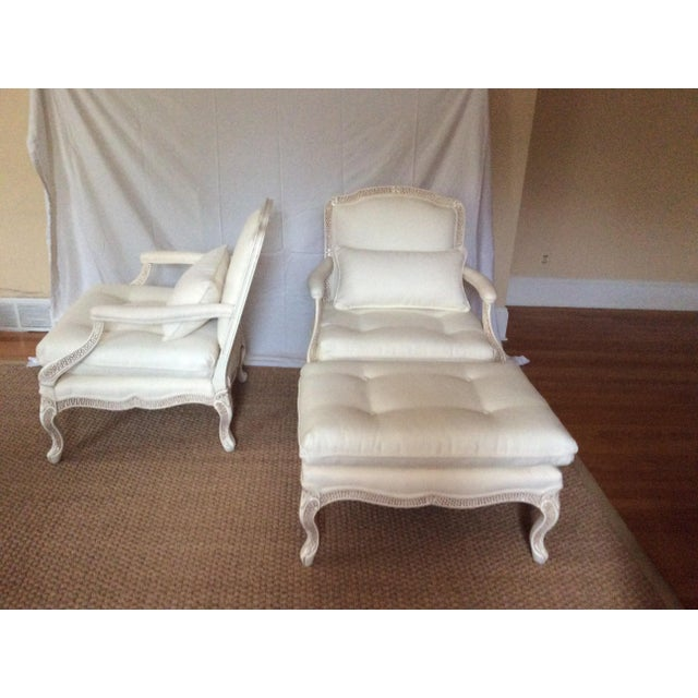 Bergere Chairs With Ottoman - Set of 3 - Image 10 of 11
