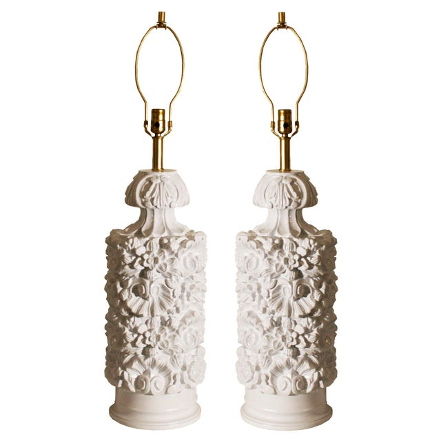 Glossy White Carved Floral Lamps - A Pair - Image 3 of 8