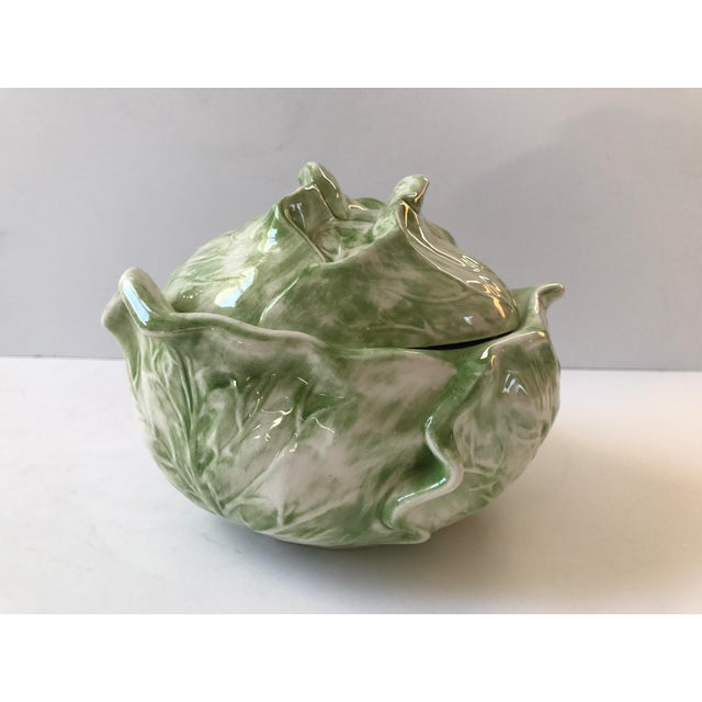 Adorable lidded majorca style ceramic cabbage shaped soup bowl. Would make a lovely addition to any kitchen table. This...